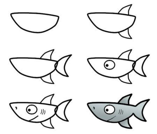 Cách vẽ hình cá mập