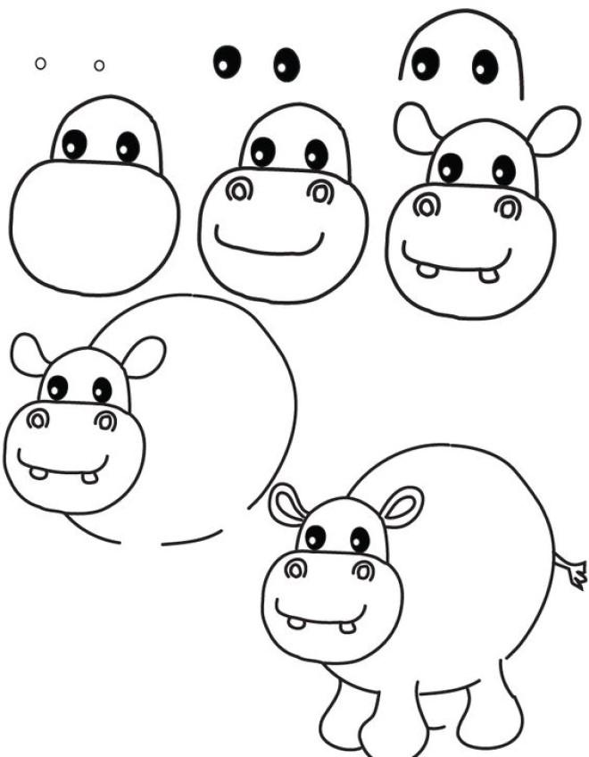 Cách vẽ hình con hà mã 1