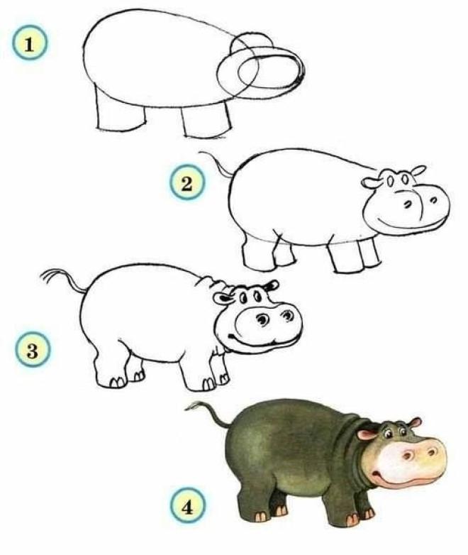 Cách vẽ hình con hà mã 2
