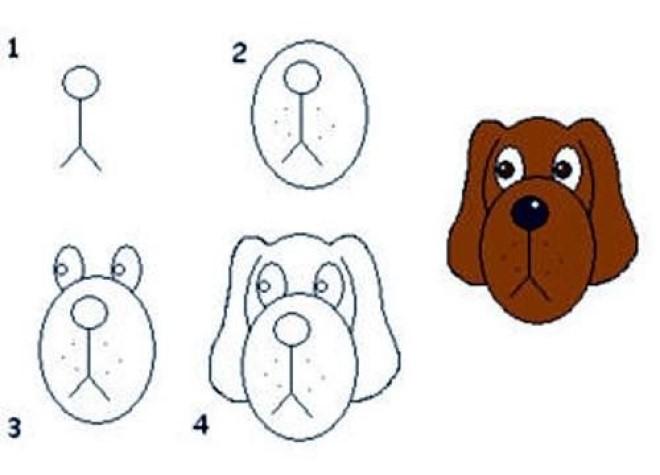 Cách vẽ hình con chó 1