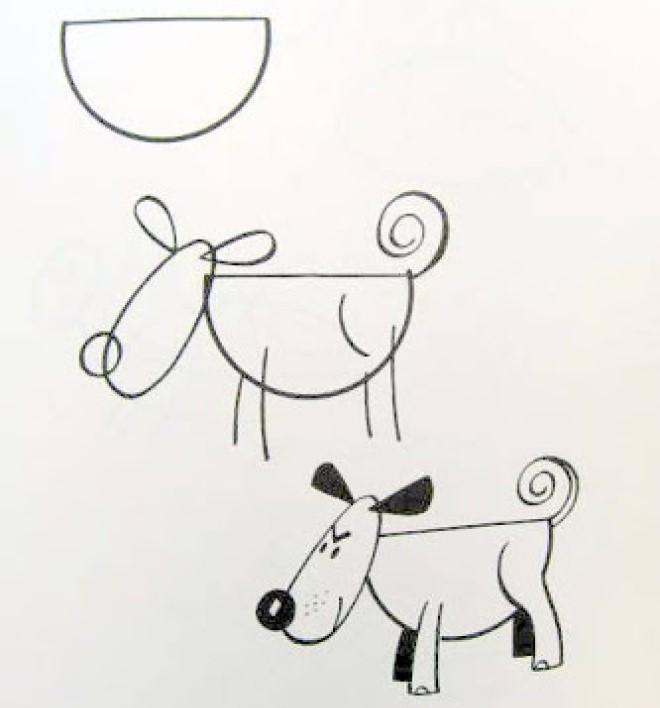 Cách vẽ hình chú chó 3