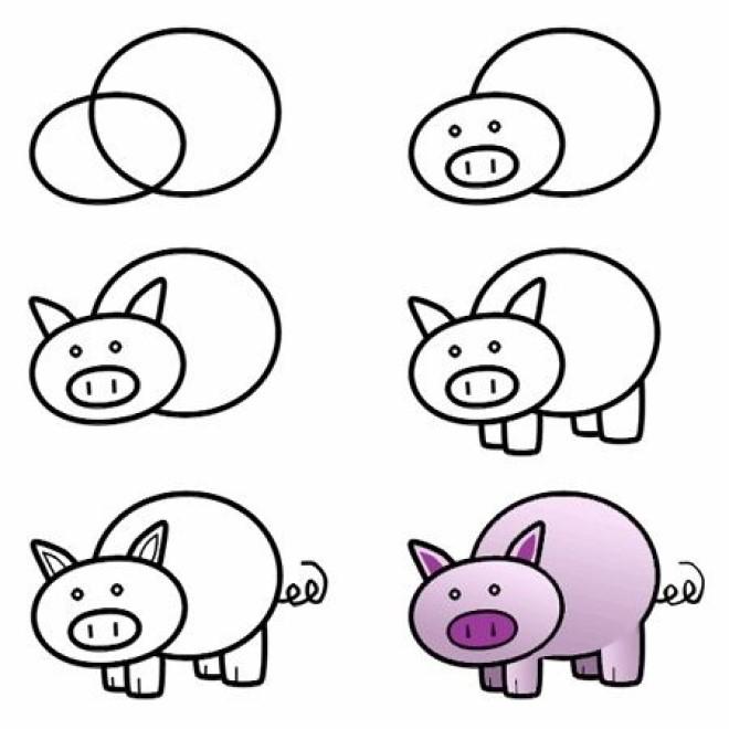 Cách vẽ hình chú heo