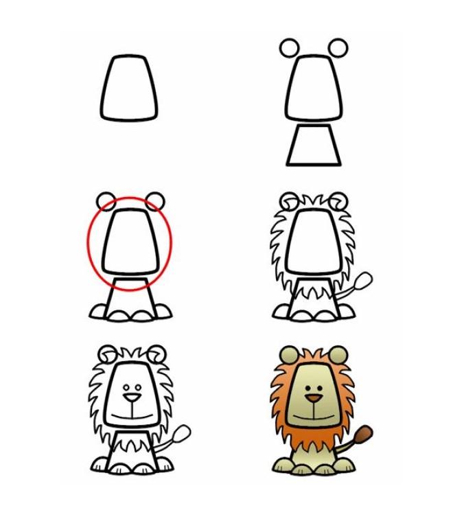 Cách vẽ hình con sư tử 1