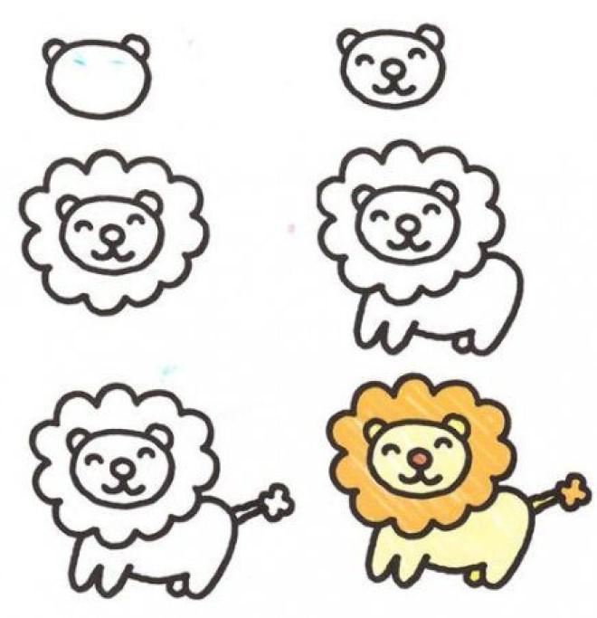 Cách vẽ hình sư tử 2