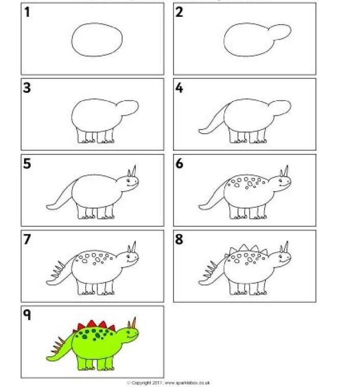 Cách vẽ hình khủng long 2