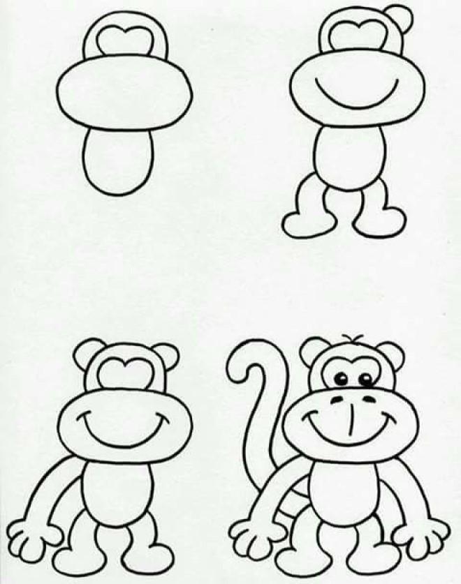 Cách vẽ hình chú khỉ